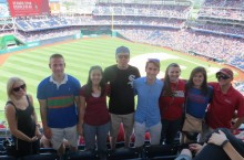 Interns at a baseball game in D.C.