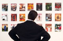 Man stares at magazine gallery