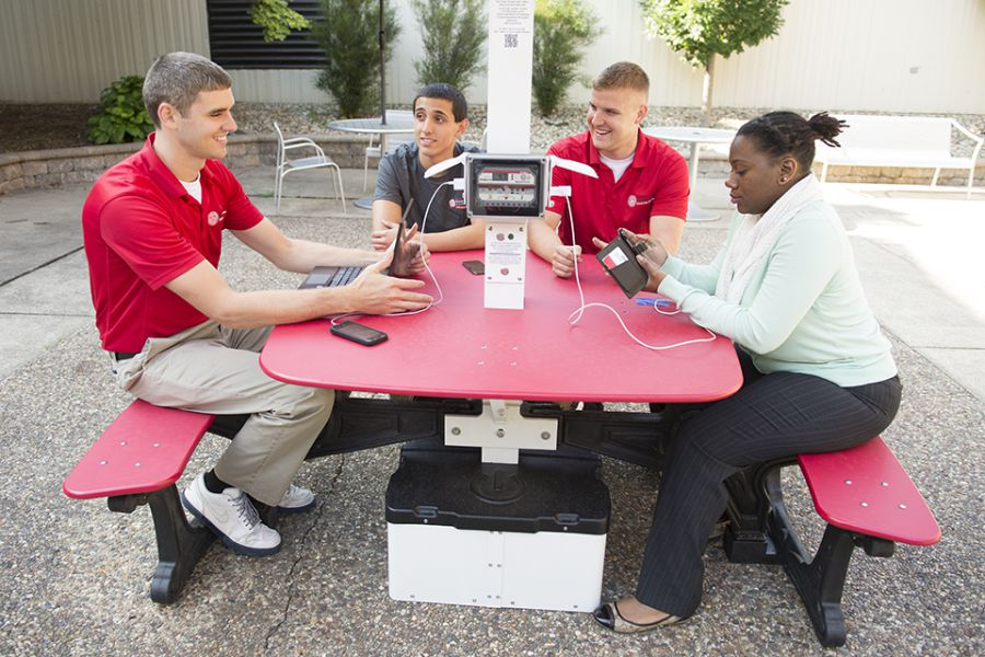 Bones New Solar Picnic Table Boosts Campus Sustainability News - Solar picnic table