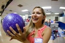 Student with bowling ball