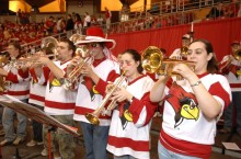 Pep band members perform
