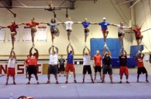 Redbird cheerleading team practices