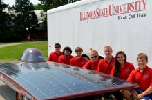 solar car team with solar car
