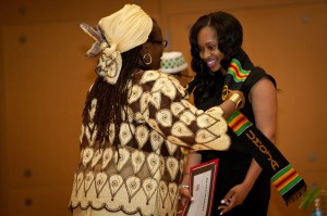 Porscha M. Stevens is bestowed with the Kente cloth