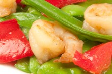plate of vegetables and shrimp