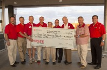 Emeriti faculty with large check