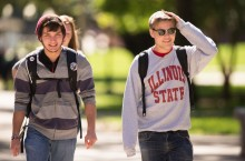 students walk the Quad