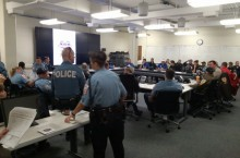 Staffers inside Emergency Operations Center