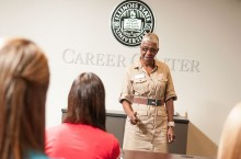 Woman talks inside the Career Center