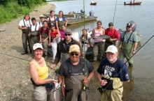 Returned Peace Corps Volunteer, Michelle Wade with fishing group.