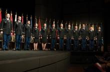 ROTC cadets at a commissioning ceremony