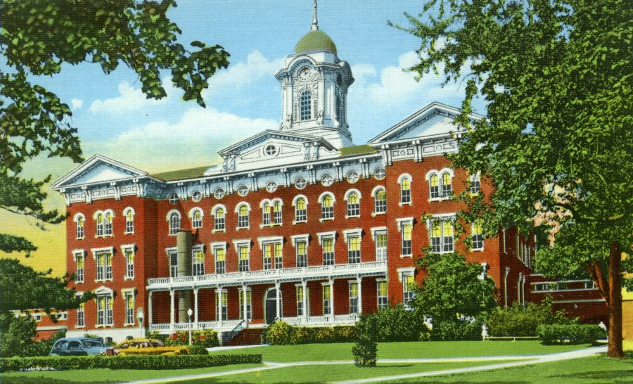 Postcard featuring an illustration of Old Main