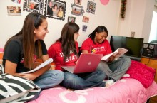 students hang out inside their Watterson room
