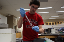 Matt Weber works in a lab