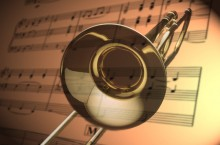 photo of a trombone and sheet music