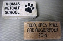 Engraved and personalized bricks are being sold for Metcalf's Fitness Trail.