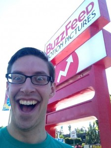 Keith Habersberger in front of BuzzFeed sign