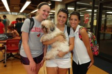 ISU Students with therapy dog
