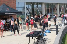 Students in front of the Student Fitness Center