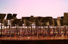 Music stands and chairs before a concert