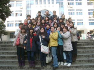 Rachel Webb with Chinese students