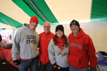 College of Education Dean, Perry L. Schoon celebrates Illinois State Homecoming in 2014 with alums Kristin and Peter RIchey, and Assistant Dean of the College of Education, Ken Fansler.