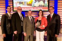 In July 2014, Erika Hunt and Lisa Hood went to Washington, D.C., with former State Superintendent Chris Koch and IBHE Director James Applegate and former Director Harry Berman to accept the 2014 Frank Newman Award for State Innovation at the Education Commission of the States conference on behalf of the state of Illinois for the work around the new P–12 Principal Endorsement. (left to right) Harry Berman, former executive director of the Illinois Board of Higher Education; Brian Sandoval, Utah governor and chair of the Education Commission of the States; Erika Hunt; James Applegate, executive director of the Illinois Board of Higher Education, and Chris Koch, former state superintendent of the Illinois State Board of Education.