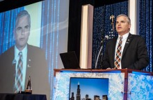 Tom Bertrand with in Chicago to receive the 2015 IASA Superintendent of the Year Award.