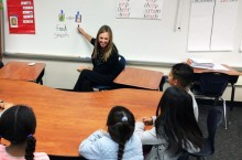 Laughlin and her students work on a reading lesson at Hansen School in Orange County.