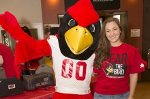 Redbird and student