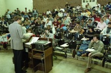 Students in a class in 1985