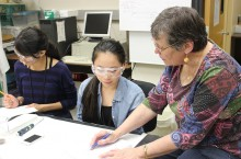 image of Marjorie Jones and students at Research Academy