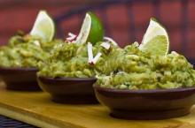 three bowls of guacamole