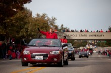 Convertible being driven in a parade
