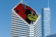 Chicago building with Reggie Redbird head on top