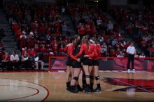 ISU Volleyball players gather together