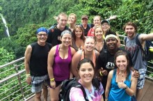 Students at La Fortuna Waterfall in Costa Rica.