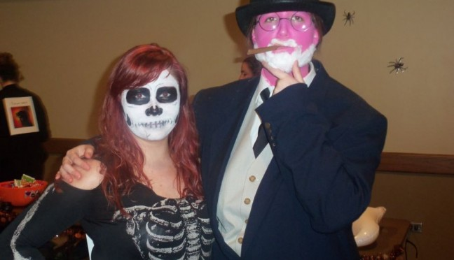 Tobi Halladay (skeleton) and Jaime Earl (Pink Freud) dress up for last year's Psi Chi/SPA Halloween party.