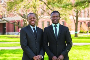 Recent Illinois State alums Adolph Okine (left) and Frank Danquah, both of Ghana, helped research potential insurance options for farmers in their native country.