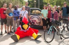 Reggie Redbird and students with Peace Corps