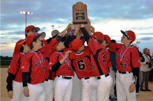 Metcalf baseball celebrates their second place finish in the state tournament.