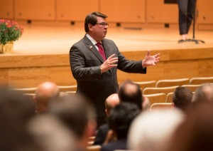 Image of President Larry Dietz answering audience questions during the 2015 State of the University Address.