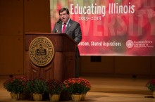 Image of President Larry Dietz delivering the 2015 State of the University Address.