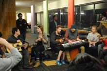 Students in Watterson Jam session