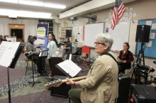 Dr. Kim McCord uses the Figurenotes method to teach music to students.