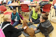 Therapy dog Sula and students