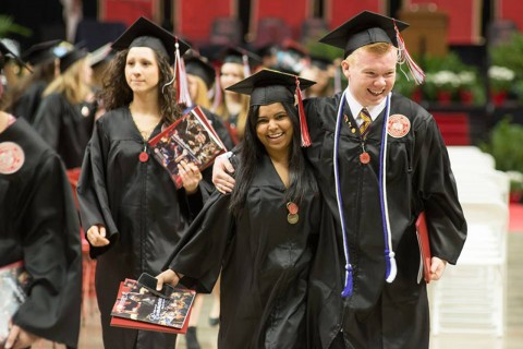 Grads walk at commencement
