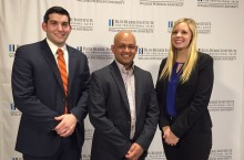 Mike Medwed (left), Illinois State Business Professor Duleep Delpechitre, and Morgan Rabas.