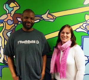 YouthBuild instructor Kevin Bradley and Illinois State Associate Professor Erin Mikulec.