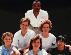 image of Rick Lewis and the 1987 Office of Residential Life Central Campus professional staff.